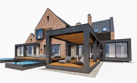 3d rendering of modern cozy clinker house on the ponds with garage and pool for sale or rent. Isolated on white