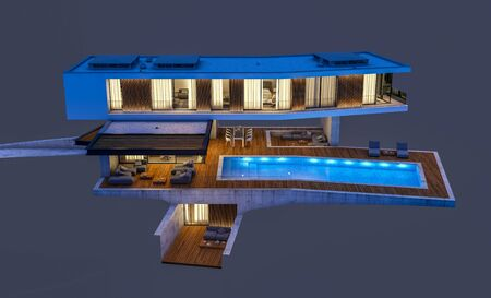 3d rendering of modern cozy house on the hill with garage and pool for sale or rentin night with cozy light from window. Isolated on gray