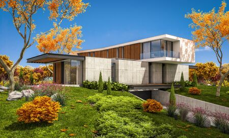3d rendering of modern cozy house on the hill with garage and pool for sale or rent with beautiful landscaping on background. Clear sunny autumn day with golden leafs anywhere Banco de Imagens