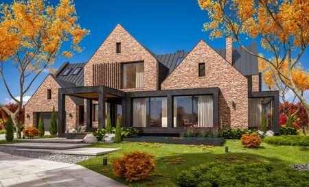 Rendering 3D di una moderna e accogliente casa di clinker sugli stagni con garage e piscina in vendita o in affitto con un bellissimo paesaggio sullo sfondo. Chiara giornata autunnale di sole con foglie d'oro ovunque. Archivio Fotografico
