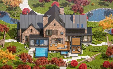 3d rendering of modern cozy clinker house on the ponds with garage and pool for sale or rent with beautiful landscaping on background. Clear sunny autumn day with golden leafs anywhere. 写真素材 - 127771459