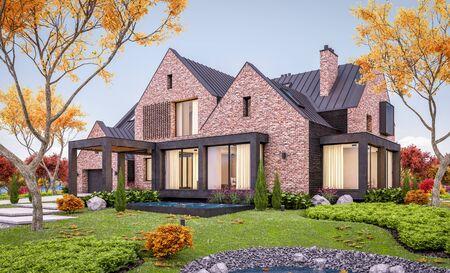 3D-Rendering des modernen gemütlichen Klinkerhauses auf den Teichen mit Garage und Pool zum Verkauf oder zur Miete mit schöner Landschaftsgestaltung im Hintergrund. Sanfter Herbstabend mit goldenen Blättern überall. Standard-Bild