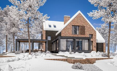 3d rendering of modern cozy clinker house on the ponds with garage and pool for sale or rent with beautiful landscaping on background. Cool winter day with shiny white snow. Standard-Bild - 128824549