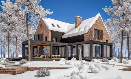 3d rendering of modern cozy clinker house on the ponds with garage and pool for sale or rent with beautiful landscaping on background. Cool winter day with shiny white snow. Standard-Bild - 128824551