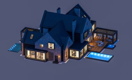3d rendering of modern cozy clinker house on the ponds with garage and pool for sale or rent in night with cozy light from window. Isolated on gray Standard-Bild - 128824569