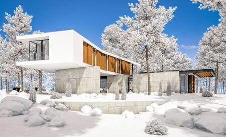 3d rendering of modern cozy house on the hill with garage and pool for sale or rent with beautiful landscaping on background. Cool winter day with shiny white snow. Standard-Bild - 128824601