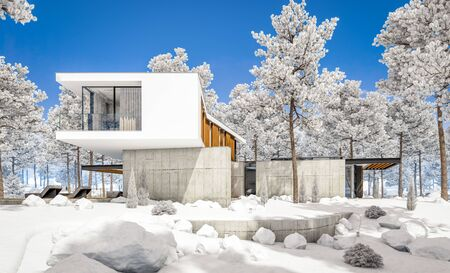 3d rendering of modern cozy house on the hill with garage and pool for sale or rent with beautiful landscaping on background. Cool winter day with shiny white snow. Standard-Bild - 128824599