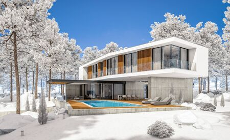 3d rendering of modern cozy house on the hill with garage and pool for sale or rent with beautiful landscaping on background. Cool winter day with shiny white snow. Standard-Bild - 128824795