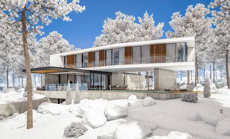 3d rendering of modern cozy house on the hill with garage and pool for sale or rent with beautiful landscaping on background. Cool winter day with shiny white snow. Standard-Bild - 128824794