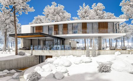 3d rendering of modern cozy house on the hill with garage and pool for sale or rent with beautiful landscaping on background. Cool winter day with shiny white snow. Standard-Bild - 128824793