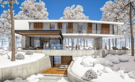 3d rendering of modern cozy house on the hill with garage and pool for sale or rent with beautiful landscaping on background. Cool winter day with shiny white snow. Standard-Bild - 128824792