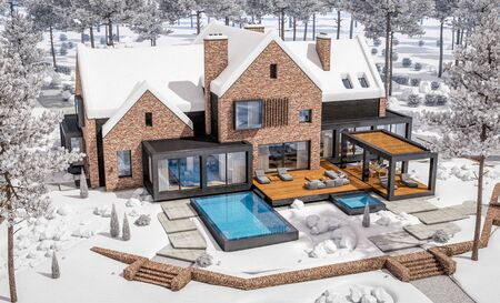3d rendering of modern cozy clinker house on the ponds with garage and pool for sale or rent with beautiful landscaping on background. Cool winter day with shiny white snow. Banco de Imagens - 129523911