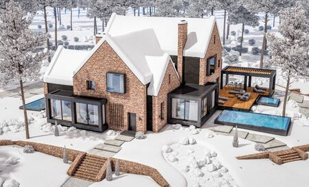 3d rendering of modern cozy clinker house on the ponds with garage and pool for sale or rent with beautiful landscaping on background. Cool winter day with shiny white snow. Stockfoto - 129523908