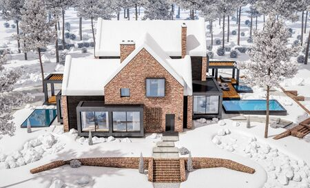 3d rendering of modern cozy clinker house on the ponds with garage and pool for sale or rent with beautiful landscaping on background. Cool winter day with shiny white snow. Banco de Imagens - 129523909