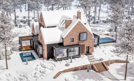3d rendering of modern cozy clinker house on the ponds with garage and pool for sale or rent with beautiful landscaping on background. Cool winter day with shiny white snow.