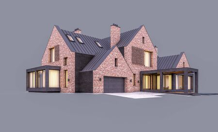3d rendering of modern cozy clinker house on the ponds with garage and pool for sale or rent in evening with cozy light from window. Isolated on gray Stock fotó