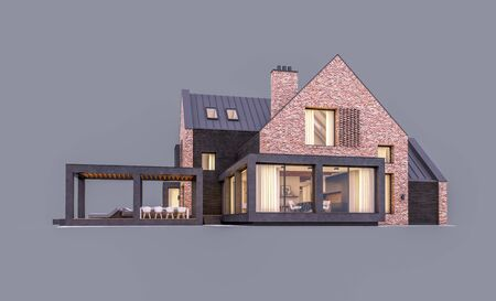 3d rendering of modern cozy clinker house on the ponds with garage and pool for sale or rent in evening with cozy light from window. Isolated on gray Banco de Imagens - 129523920