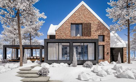 3d rendering of modern cozy clinker house on the ponds with garage and pool for sale or rent with beautiful landscaping on background. Cool winter day with shiny white snow. Stockfoto - 129523979