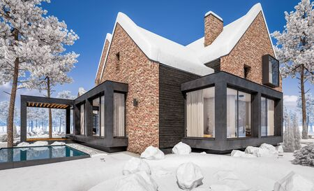 3d rendering of modern cozy clinker house on the ponds with garage and pool for sale or rent with beautiful landscaping on background. Cool winter day with shiny white snow. Banco de Imagens - 129523981