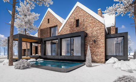 3d rendering of modern cozy clinker house on the ponds with garage and pool for sale or rent with beautiful landscaping on background. Cool winter day with shiny white snow. Banco de Imagens - 129523983