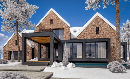 3d rendering of modern cozy clinker house on the ponds with garage and pool for sale or rent with beautiful landscaping on background. Cool winter day with shiny white snow. Banco de Imagens - 129523982