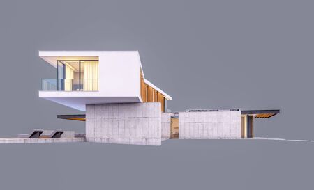 3d rendering of modern cozy house on the hill with garage and pool for sale or rent in evening with cozy light from window. Isolated on gray