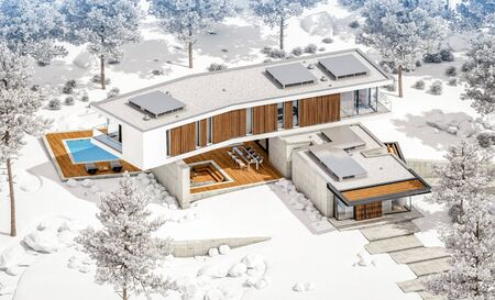 3d rendering of modern cozy house on the hill with garage and pool for sale or rent with beautiful landscaping on background. Cool winter day with shiny white snow. Stock fotó