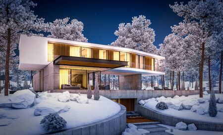 3d rendering of modern cozy house on the hill with garage and pool for sale or rent with beautiful landscaping on background. Cool winter night with cozy light inside.