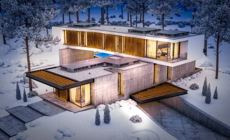 3d rendering of modern cozy house on the hill with garage and pool for sale or rent with beautiful snow landscaping on background. Cool winter night with cozy light inside.