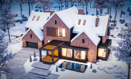 3d rendering of modern cozy clinker house on the ponds with garage and pool for sale or rent with beautiful landscaping on background. Cool winter night with warm cozy light inside. Reklamní fotografie