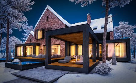 3d rendering of modern cozy clinker house on the ponds with garage and pool for sale or rent with beautiful landscaping on background. Cool winter night with warm cozy light inside. Standard-Bild
