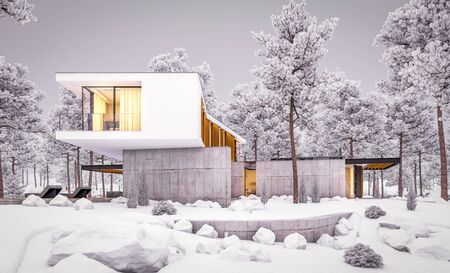 3d rendering of modern cozy house on the hill with garage and pool for sale or rent with beautiful landscaping on background. Cool winter evening with cozy light inside. Stockfoto
