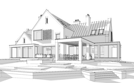 3d rendering of modern cozy clinker house on the ponds with garage and pool for sale or rent. Black line sketch with soft light shadows on white background
