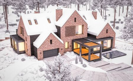 3d rendering of modern cozy clinker house on the ponds with garage and pool for sale or rent with beautiful landscaping on background. Cool winter evening with warm cozy light inside.