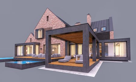 3d rendering of modern cozy clinker house on the ponds with garage and pool for sale or rent in evening with cozy light from window. Isolated on gray Stockfoto