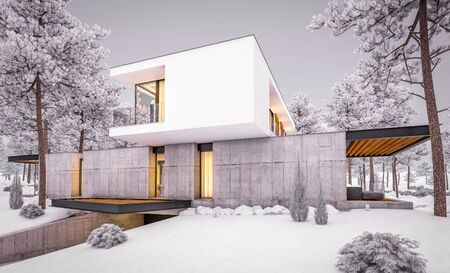 3d rendering of modern cozy house on the hill with garage and pool for sale or rent with beautiful landscaping on background. Cool winter evening with cozy light inside. Stock fotó