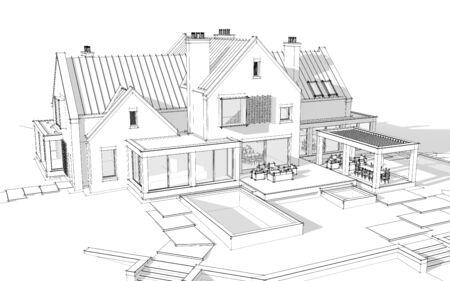 3D-Rendering des modernen gemütlichen Klinkerhauses auf den Teichen mit Garage und Pool zum Verkauf oder zur Miete. Schwarze Strichskizze mit weichen Lichtschatten auf weißem Hintergrund
