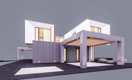 3d rendering of modern cozy house in the garden with garage and pool for sale or rent in evening with cozy light from window. Isolated on gray