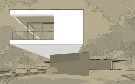 3d rendering of modern cozy house on the hill with garage and pool for sale or rent.  Black line sketch with white spot and hand drawing entourage on craft background. Stock fotó