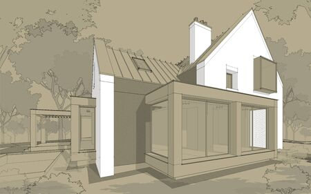 3d rendering of modern cozy clinker house on the ponds with garage and pool for sale or rent. Black line sketch with white spot and hand drawing entourage on craft background