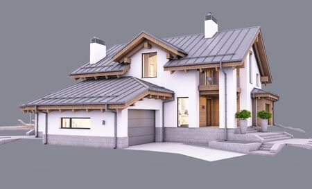 3d rendering of modern cozy house in chalet style with garage and pool for sale or rent in evening with cozy light from window. Isolated on gray
