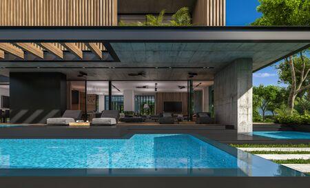 Rendu 3D d'une maison moderne et confortable avec parking et piscine à vendre ou à louer avec façade en planches de bois et bel aménagement paysager en arrière-plan. Journée d'été claire et ensoleillée avec ciel bleu.
