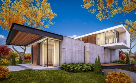 3d rendering of modern cozy house on the hill with garage and pool for sale or rent with beautiful landscaping on background. Soft autumn evening with golden leafs anywhere Foto de archivo