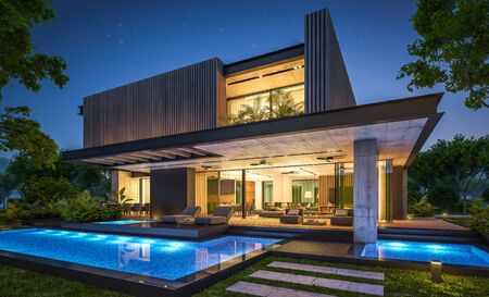 Renderowania 3D nowoczesnego, przytulnego domu z parkingiem i basenem na sprzedaż lub wynajem z fasadą z drewnianych desek i pięknym krajobrazem na tle. Pogodna letnia noc z wieloma gwiazdami na niebie.