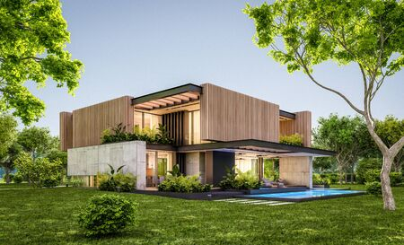 3d rendering of modern cozy house with parking and pool for sale or rent with wood plank facade and beautiful landscaping on background. Clear summer evening with cozy light from window.
