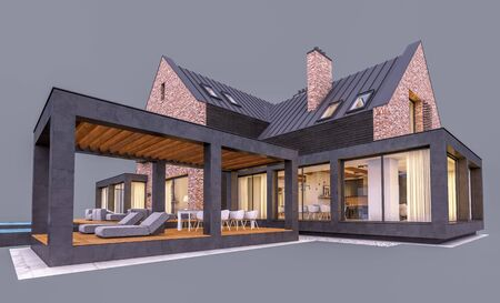 3d rendering of modern cozy clinker house on the ponds with garage and pool for sale or rent in evening with cozy light from window. Isolated on gray Standard-Bild