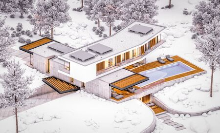 3d rendering of modern cozy house on the hill with garage and pool for sale or rent with beautiful landscaping on background. Cool winter evening with cozy light inside. Imagens