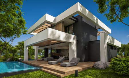 3d rendering of modern cozy house with pool and parking for sale or rent in luxurious style and beautiful landscaping on background. Summer sunny day with clear blue sky.