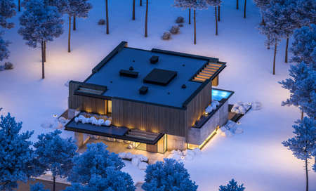 3d rendering of modern cozy house with parking and pool for sale or rent with wood plank facade and beautiful landscaping on background. Cool winter night with cozy light from windows Zdjęcie Seryjne
