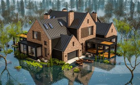 3d rendering of modern cozy house in spring water cataclysm. House is experiencing a devastating flood. General evacuation is underway